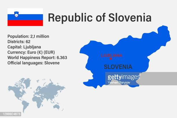 highly detailed slovenia map with flag, capital and small map of the world - スロベニア国旗 ストックフォトと画像
