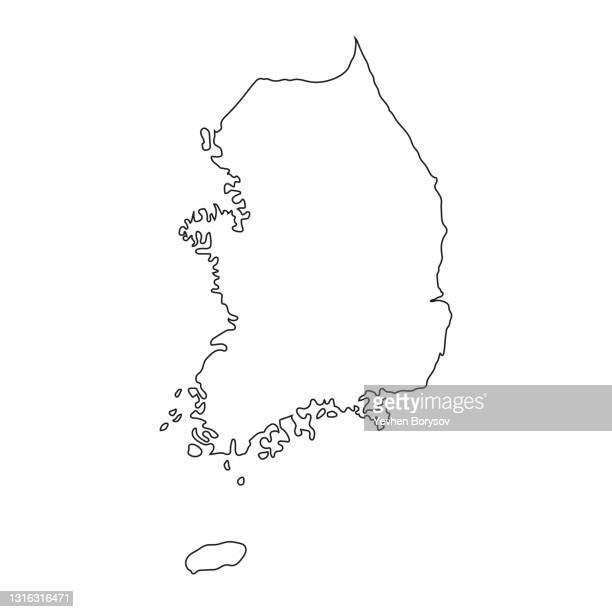 highly detailed south korea map with borders isolated on background - south korea stock pictures, royalty-free photos & images