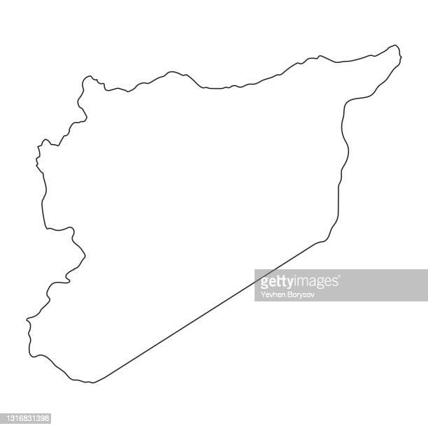 highly detailed syria map with borders isolated on background - syria stock pictures, royalty-free photos & images