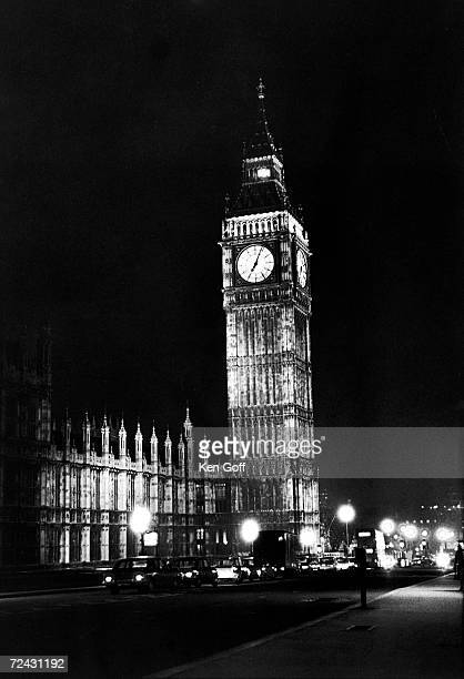Highly illuminated Big Ben during energy shortage re wasted energy