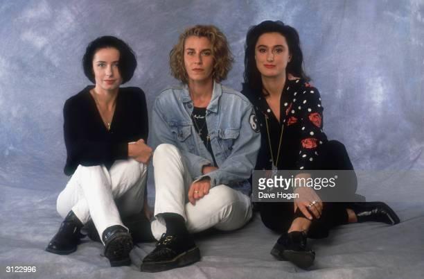 Highly successful British pop group Bananarama circa 1990 From left to right Keren Woodward Sarah Dallin and Jacquie O'Sullivan