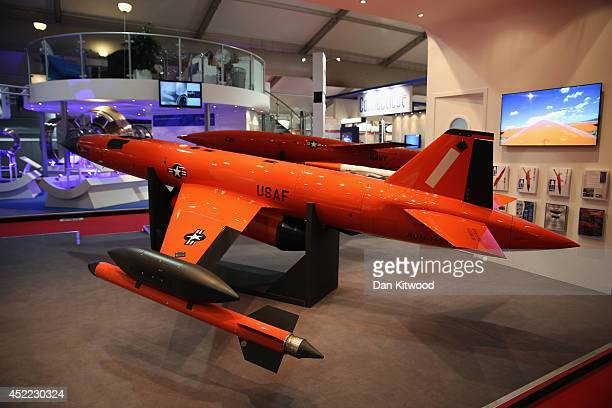 A BQM167A highperformance remotecontrolled aerial target drone used by the US air force is displayed on day four of the Farnborough International...
