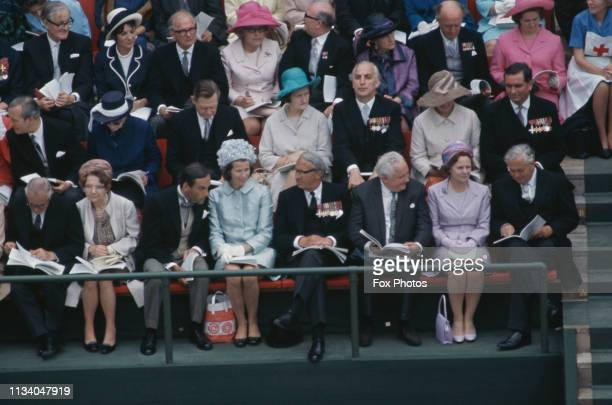 High-ranking guests at the investiture of Prince Charles as Prince of Wales at Caernarfon Castle, Gwynedd, Wales, 1st July 1969. At bottom right are...