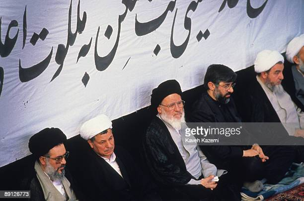 Highranking Iranian clerics at a memorial service for Ayatollah Khomeini held at Friday Prayers in Tehran 9th June 1989 Left to right Mohammad...