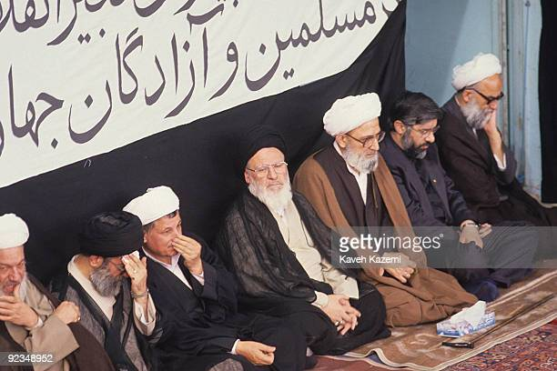 Highranking Iranian clerics at a memorial service for Ayatollah Khomeini held during Friday Prayers in Tehran 9th June 1989 From left to right they...