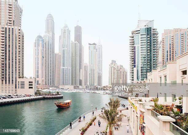 high-rise buildings at dubai marina - ドバイ ストックフォトと画像