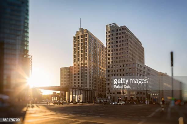 high-rise buildings at potsdamer platz, berlin - potsdamer platz stock pictures, royalty-free photos & images