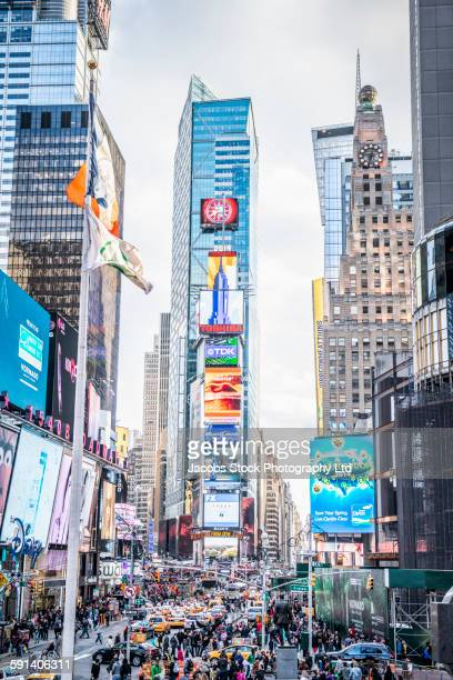 highrise buildings in times square, new york city, new york, united states - パレード ストックフォトと画像