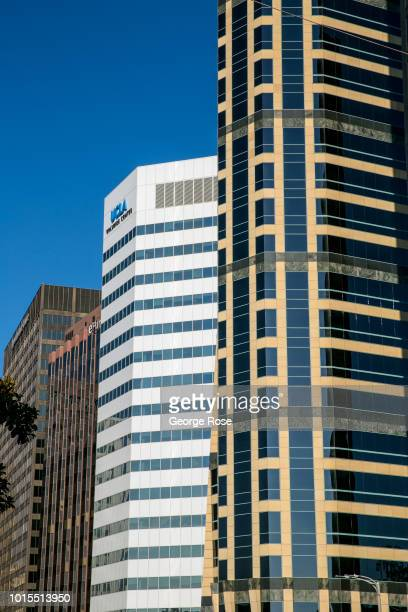 High-rise office buildings along Wilshire Blvd in Westwood Village are viewed on August 7, 2018 in Los Angeles, California. Millions of tourists...