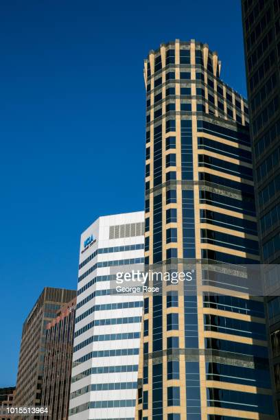 High-rise office buildings along Wilshire Blvd in Westwood Village are viewed on August 8, 2018 in Los Angeles, California. Millions of tourists...