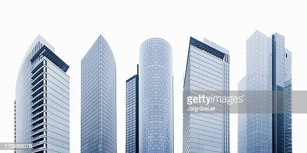 high-rise office buildings - wolkenkrabber stockfoto's en -beelden