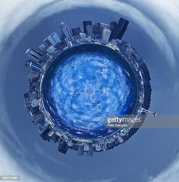 Highrises around blue sphere