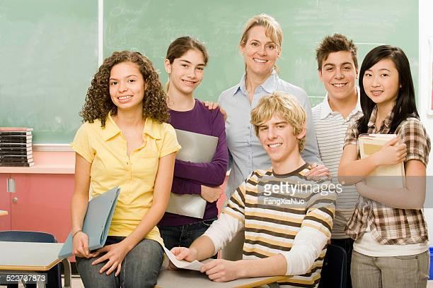 High-school classmates and teacher