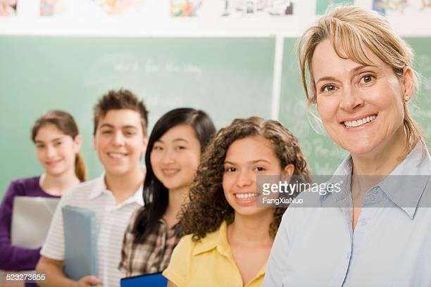 High-school-Klasse und Lehrer