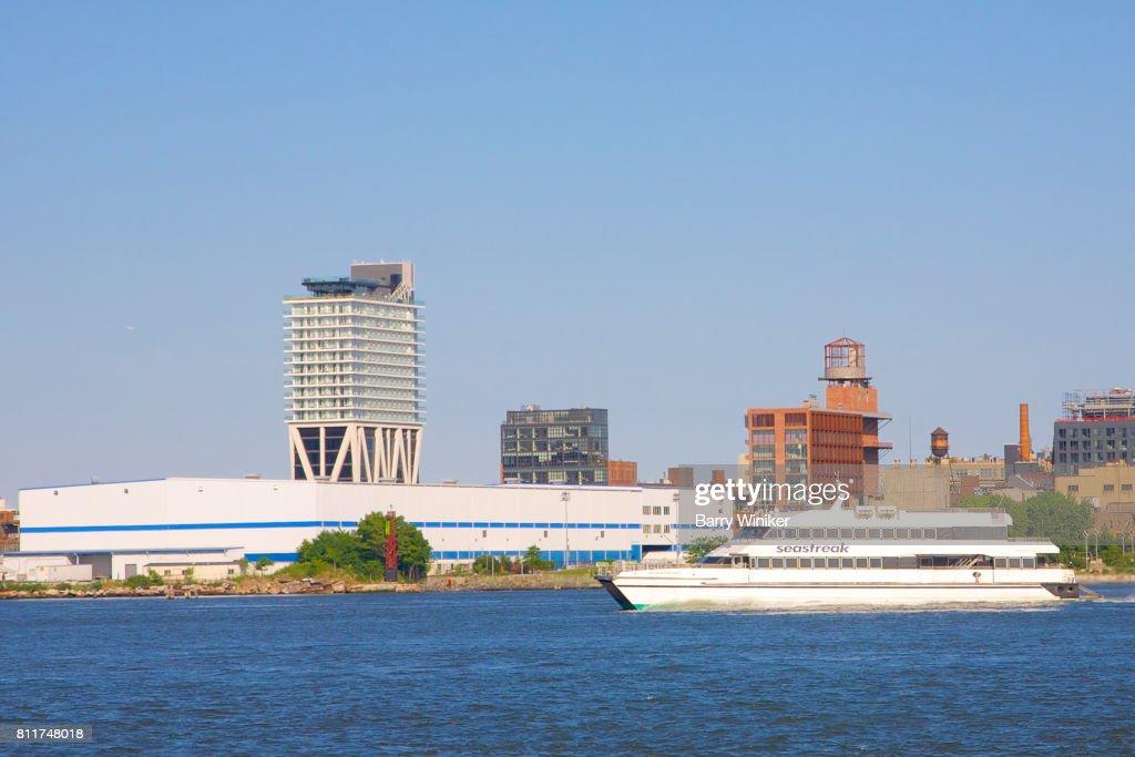 Highspeed Ferry On East River Near Williamsburg Brooklyn