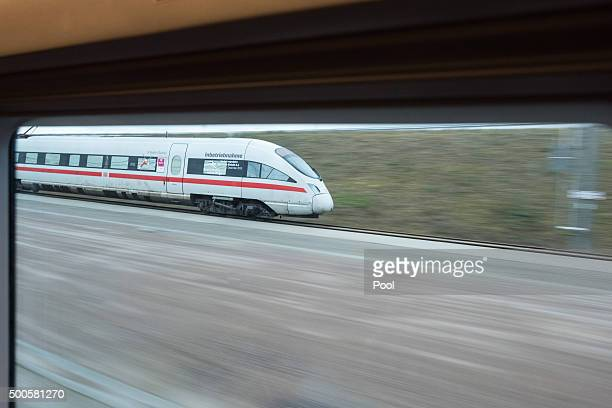 A highspeed ICE train of German state rail carrier Deutsche Bahn travels on the newlycompleted stretch between Erfurt and Leipzig on December 9 2015...