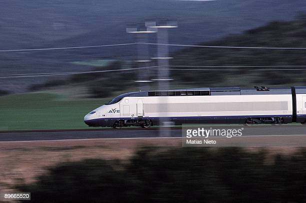AVE highspeed train AVE highspeed train circulating for a railroad