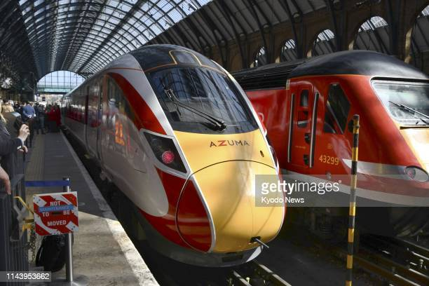 High-speed train Azuma, manufactured by Japan's Hitachi Ltd., is shown to the media at London's King's Cross station on May 14, 2019. The train will...