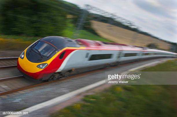 High-speed train on track (blurred motion)