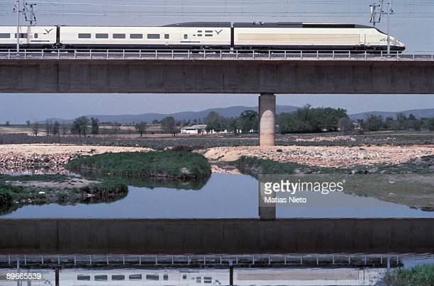 AVE highspeed train View of the AVE highspeed train crossing a bridge