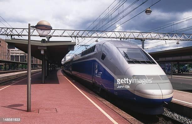 A TGV high-speed train, waiting at a platform of a railway station