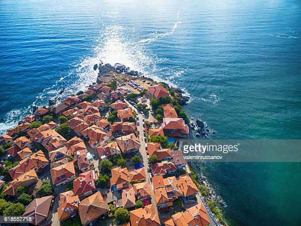 hight angle view of sozopol, bulgaria - bulgaria stock pictures, royalty-free photos & images