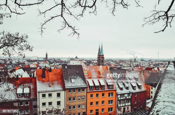 Hight Angle View of Townscape Against Sky in Nuremberg City