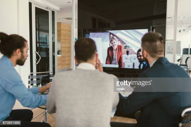 high-tech meeting - lcd television stock pictures, royalty-free photos & images