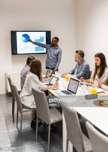 high-tech meeting. - projection screen stock photos and pictures