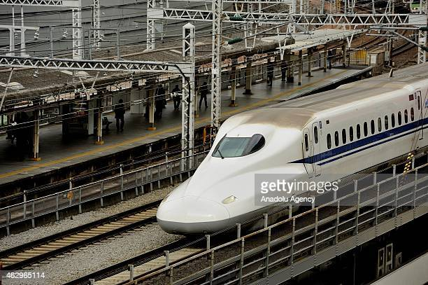 A hightspeed rail line Shinkansen crosses Tokyo city Japan on February 07 2015 Texas Central Railway is proposing to build a highspeed rail line...