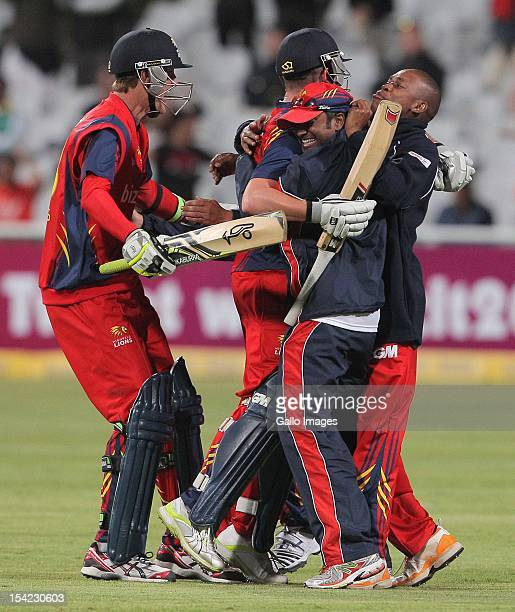 Highveld Lions celebrates their win during the Karbonn Smart CLT20 match between Chennai Super Kings and Highveld Lions at Sahara Park Newlands on...