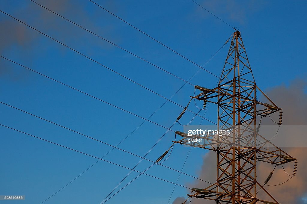 high-voltage power line against the background of the sky : Stock Photo