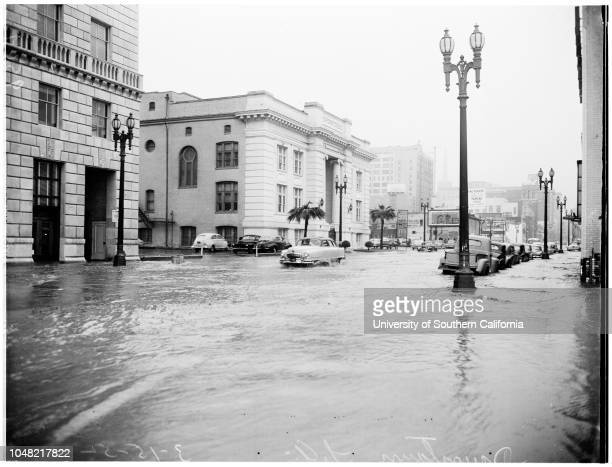 Highwater In Downtown Los Angeles 15 March 1952 General Views On Hope Street Between Olympic Boulevard