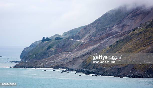 Highway 1 is cut in two where a massive landslide obliterated the road north of Ragged Point in Monterey County in Big Sur Calif on May 25 2017