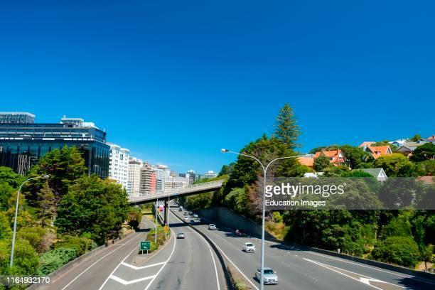 Highway 1 running trough Wellington City Wellington North Island New Zealand