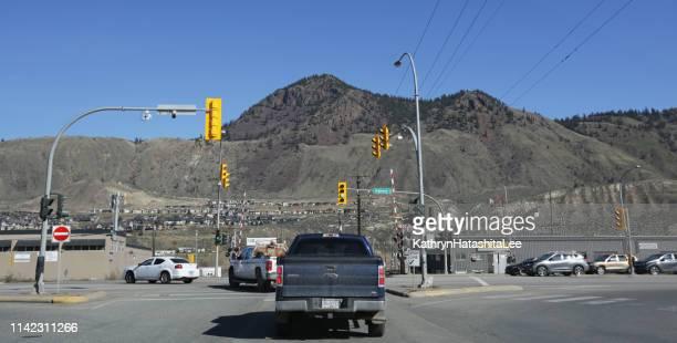 highway 1 traffic in kamloops, british columbia - kamloops stock pictures, royalty-free photos & images