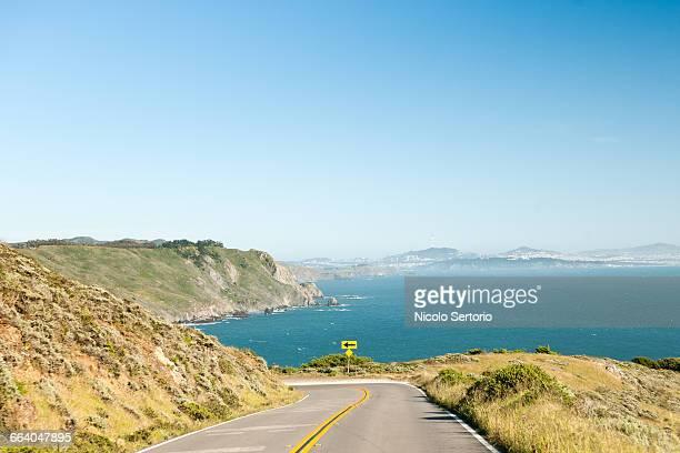 Highway 1 turn with ocean