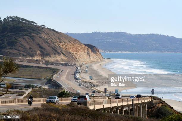 Highway 101 hugs the cliffs on the California coast in Del Mar