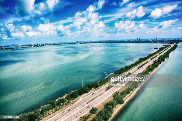 Highway 195 Across the Biscayne Bay in Miami