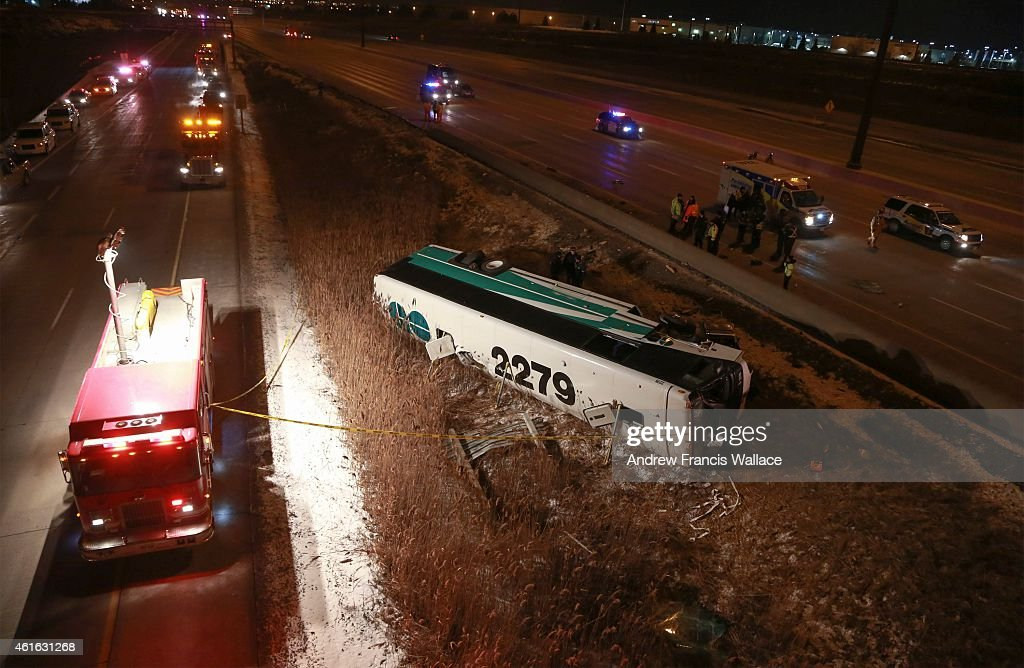 Highway 407 ETR at near Weston Rd  GO bus roll over