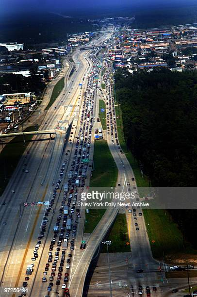 Highway 45 North which leads to Dallas Tex is a virtual parking lot as residents flee Houston and surrounding coastal areas in advance of Hurricane...