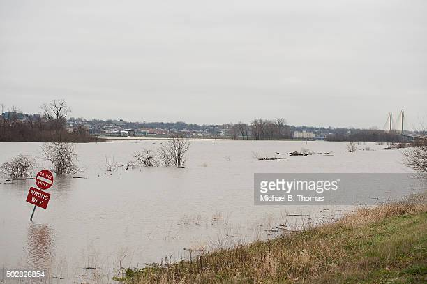Highway 67 is completely submerged on December 29 2015 in West Alton Missouri Local authorities have called for a voluntary evacuation of the town...