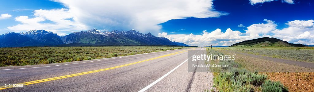 Highway 89 panorama in Wyoming USA near Grand Teton park : Stock Photo