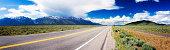 Highway 89 panorama in Wyoming USA near Grand Teton park