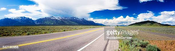 Highway 89 panorama in Wyoming USA near Grand Teton park