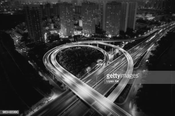 highway aerial view - liyao xie stock pictures, royalty-free photos & images