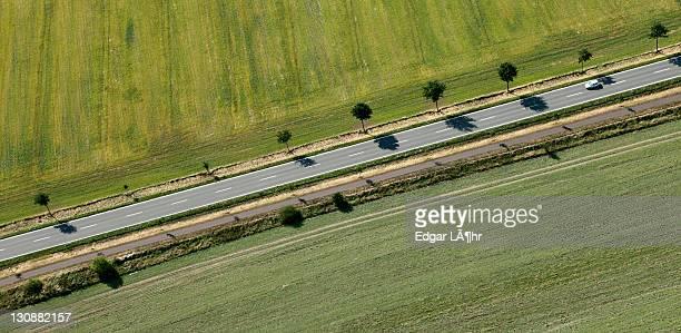 Highway, aerial view, Saxony-Anhalt, Germany, Europe
