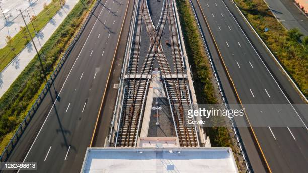 highway and rail travel - gerville stock pictures, royalty-free photos & images