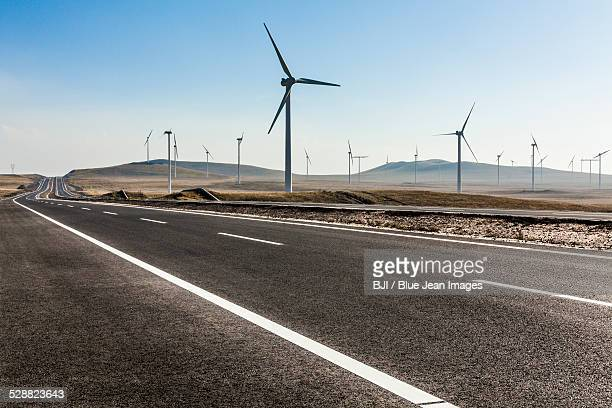 Highway and windmills in Inner Mongolia province, China