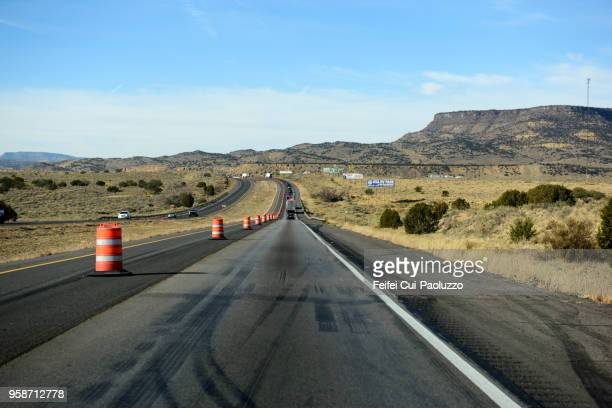 highway at grants, new mexico, usa - road construction stock photos and pictures